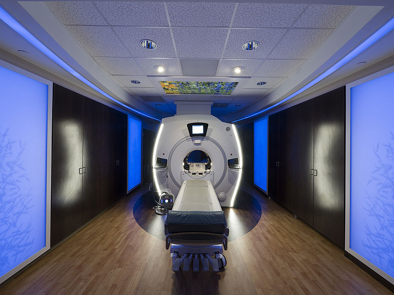 Patient-friendly MRI Suite. MRI LED Lighting, video, music and MRI RF Shielding