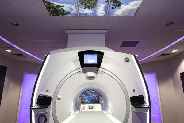 JRMC Caring MR Suite with Illuminated Image Ceiling + in-bore viewing.